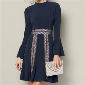 Venus bell sleeve navy blue swing fit flare dress